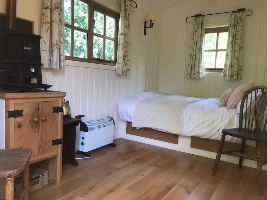 The inside of our Shepherds Hut is perfect for a lovely stay in the peaceful countryside.