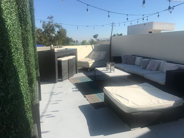 Rooftop deck with city views