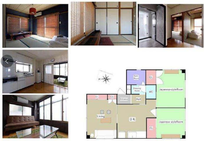 三室一厅,日式榻榻米房间两间,洋式房间一间,宽敞舒适,可最大入住11人!