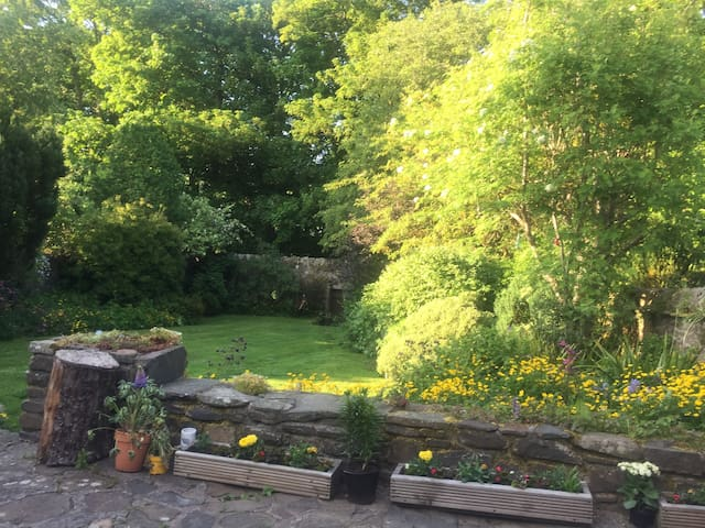Country cottage: pretty, spacious walled garden