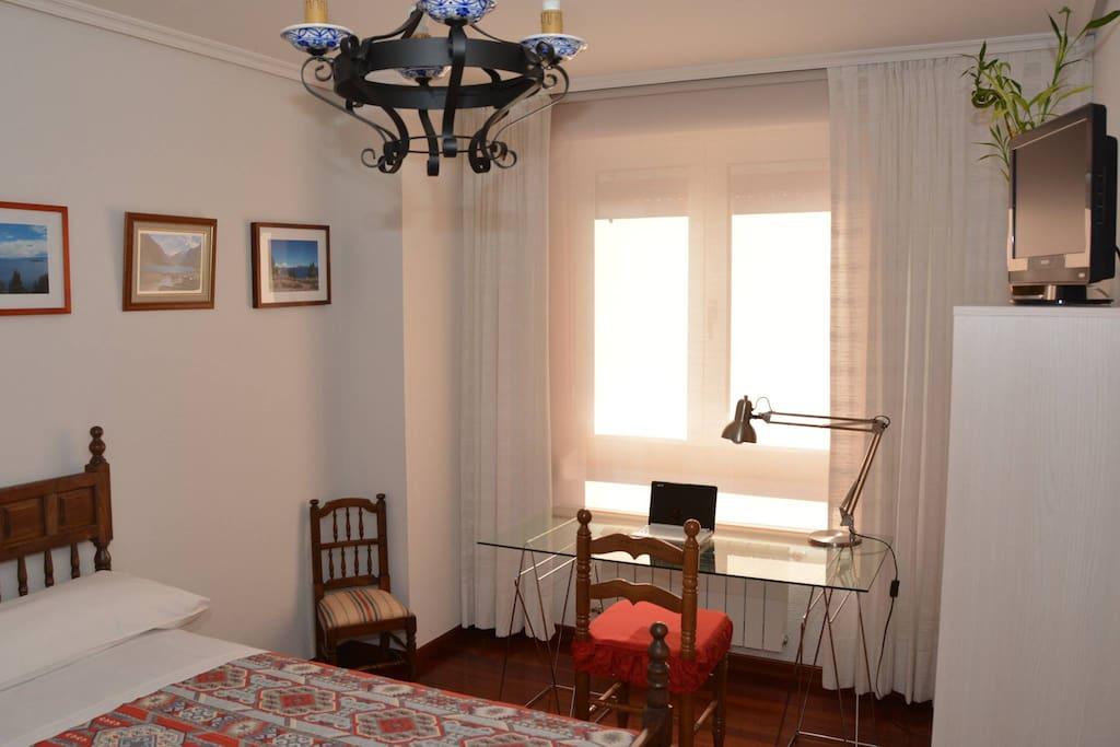 Habitación individual con cama de 1.05, armario, estantería, mesa de estudio y televisión.