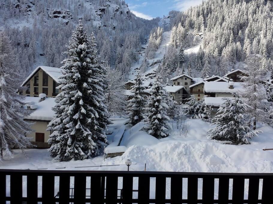 Vista dal terrazzo in inverno