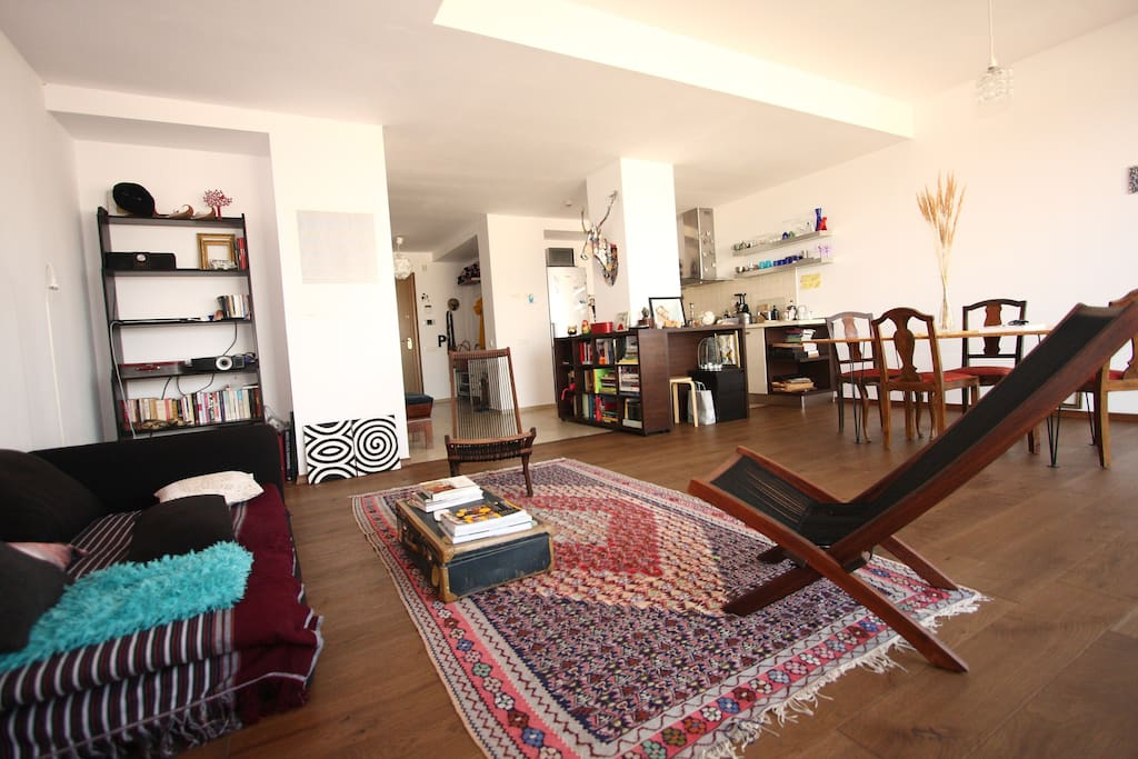 Living, dining area and kitchen