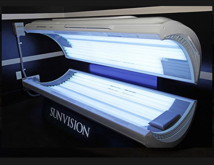 Tanning beds in the gym area