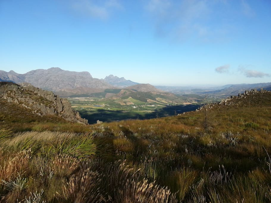 A view of the Tea House from Du Toits Kop above Franschhoek. Scroll on for details.