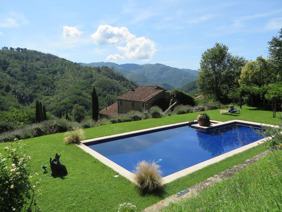 The pool:  Looking down onto the villa and over hills