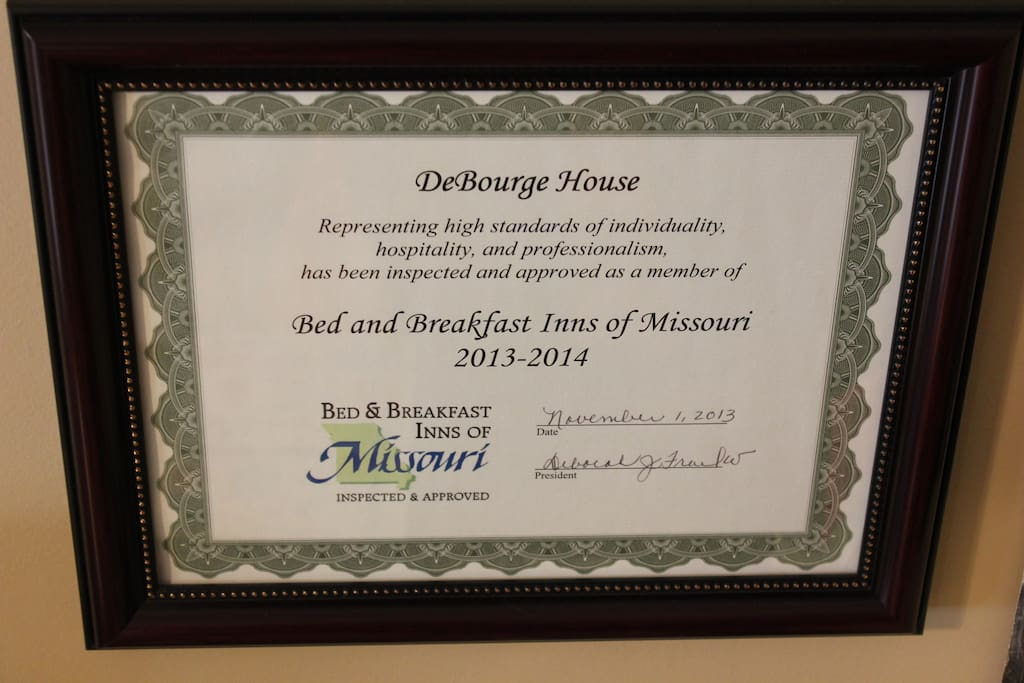 Bed and Breakfast Inns of Missouri inspection certificate.