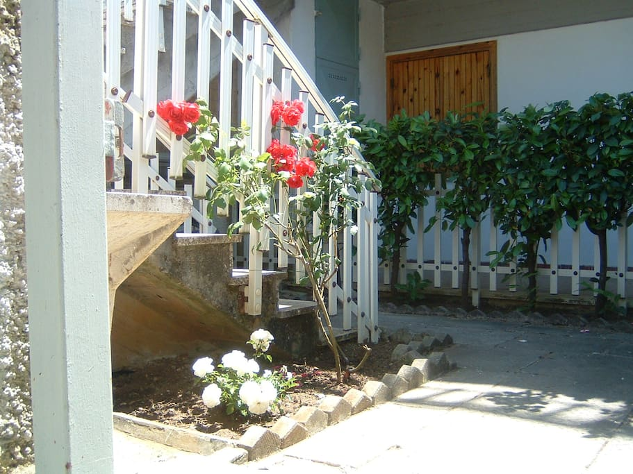 Small garden (20 sqm.) with staircase leading to the main entrance