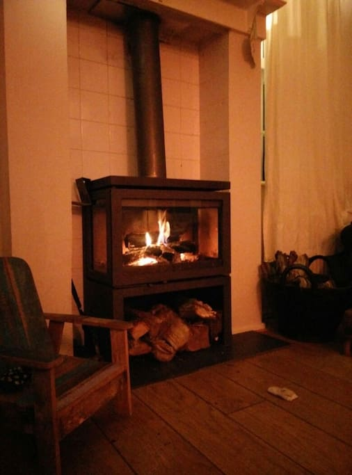 Very cozy wood burning stove in the living room