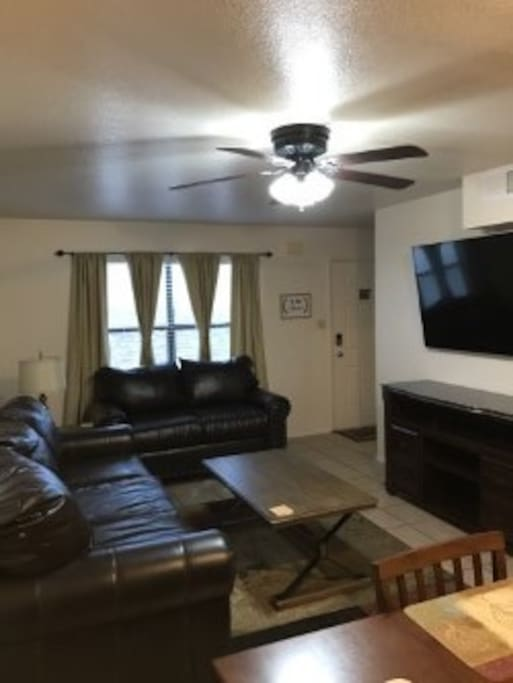 Living Area-Leather Couches and TV for Entertainment
