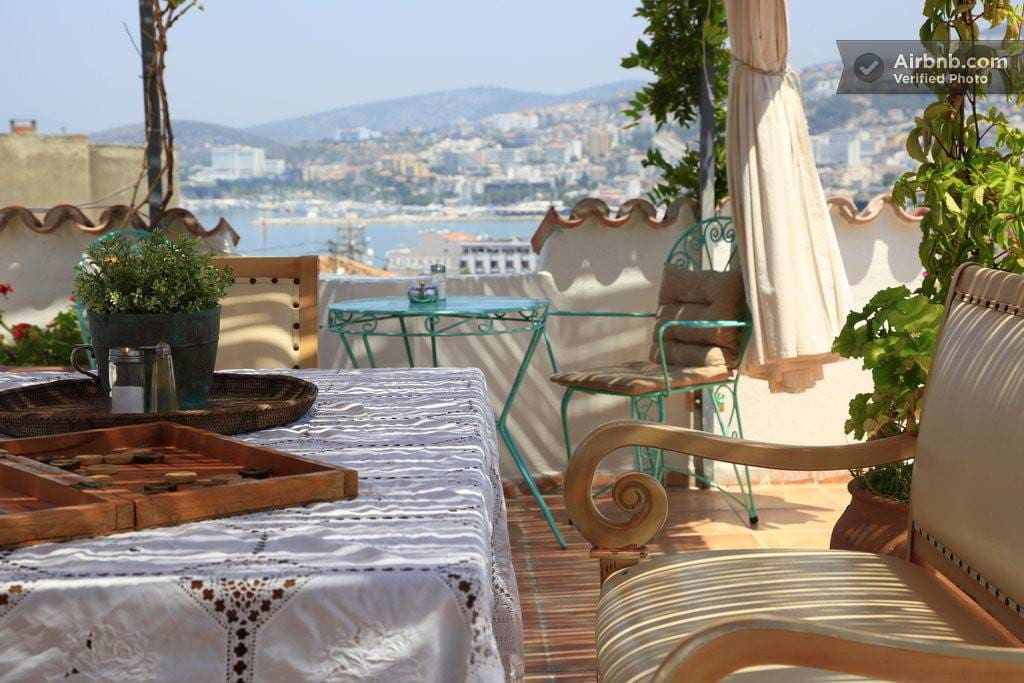 Panoramic Views from the Breakfast table overlooking the Aegean Sea...