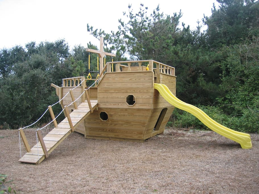 Private 8' x 14' Amish-built Pirate Ship.  A great playset for the little ones.