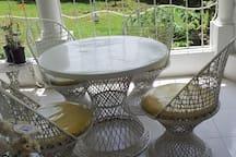 breakfast nook on back veranda