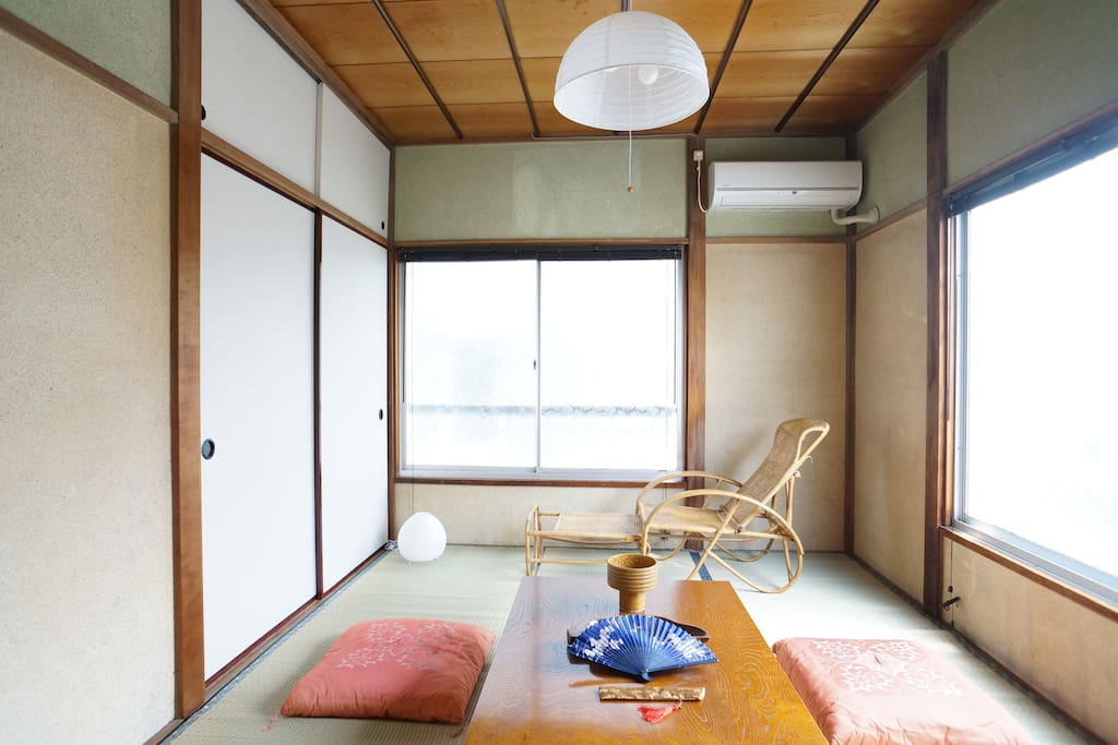 Traditional tatami room in the morning.