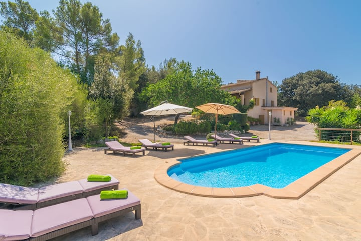 ES RIQUERS - Villa with private pool in Porreras. Free WiFi