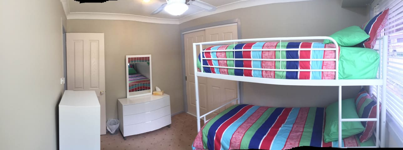 shared room with bunks or single bed.
