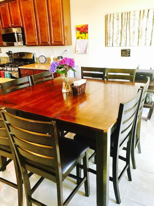 Raised kitchen table seating for 8.