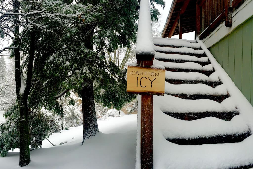 Watch out, the wooden stairs can get really icy - I'd recommend walking up the cement stairs on the side of the house.