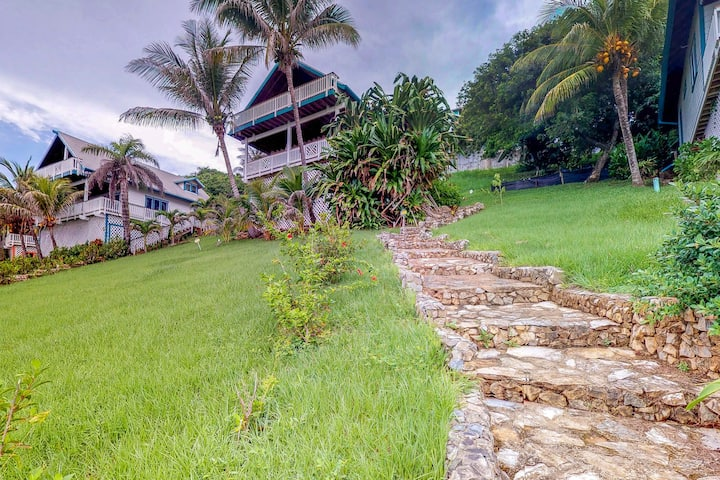 Ocean view island home with 2 large decks, shared pool, private grill & hammock