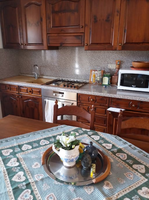 Well- equipped kitchen where you can cook by yourself or let us provide you authentic Italian meals.