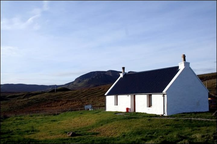 traditional modernised croft house, Brogaig, Skye. - Highland