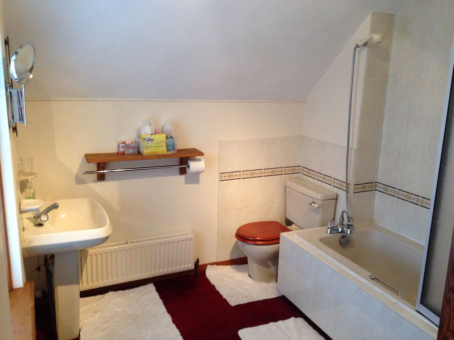 Enjoy a bath or shower (electric shower is behind the screen or not in shot). All rooms double glazed.
