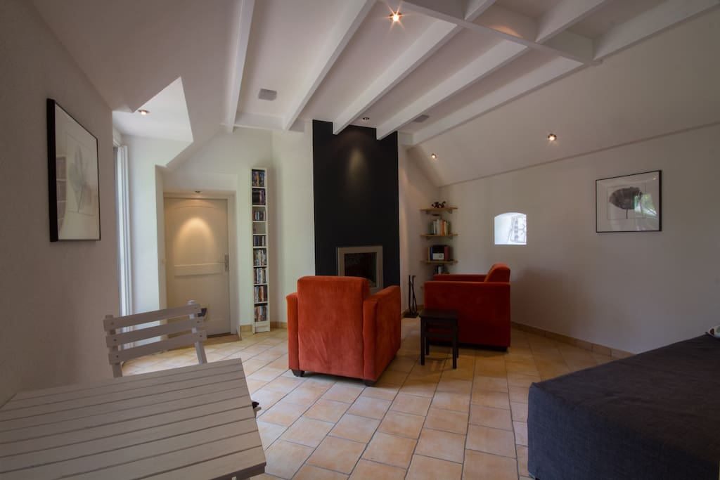 Overview of your living room with fireplace