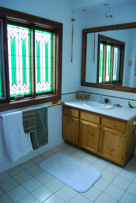 Shared bath on the second floor.  Stained glass windows.