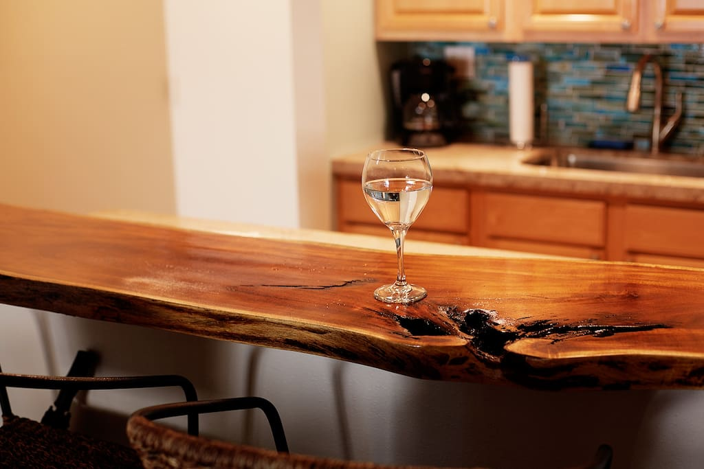 Enjoy yourself at our custom made driftwood breakfast bar.