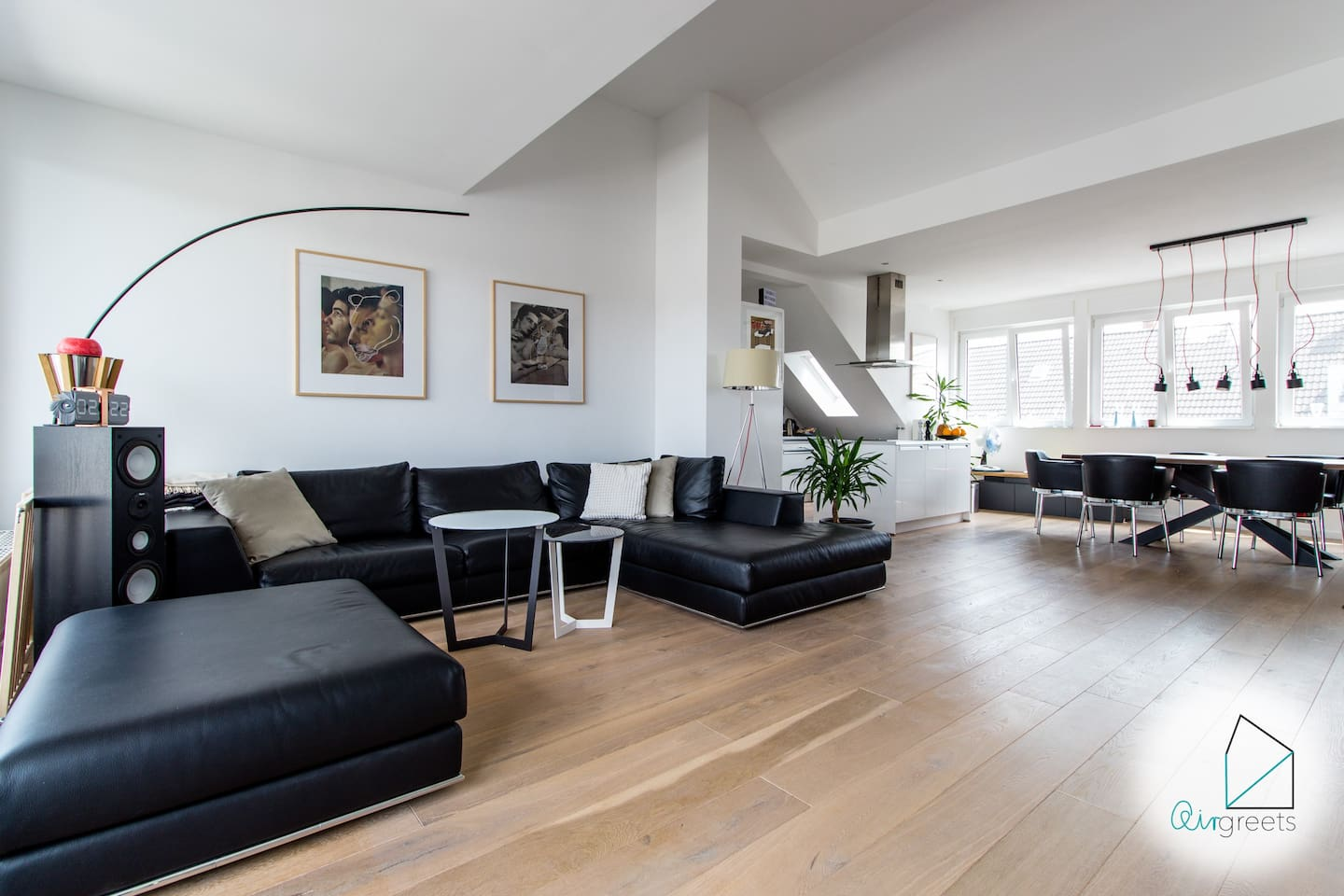 In my apartment, a wonderful, open designed kitchen-cum-living room is waiting for you.