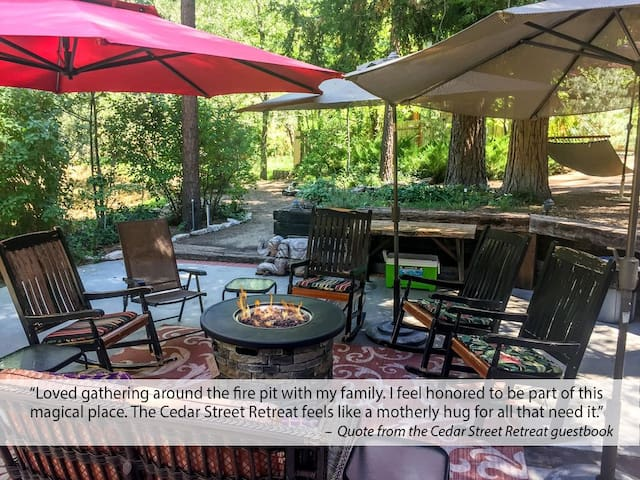 Look at this amazing 1/2 acre, lush yard! Safe and easy to use propane fire pit. Great for those cool evenings and chilly mornings.