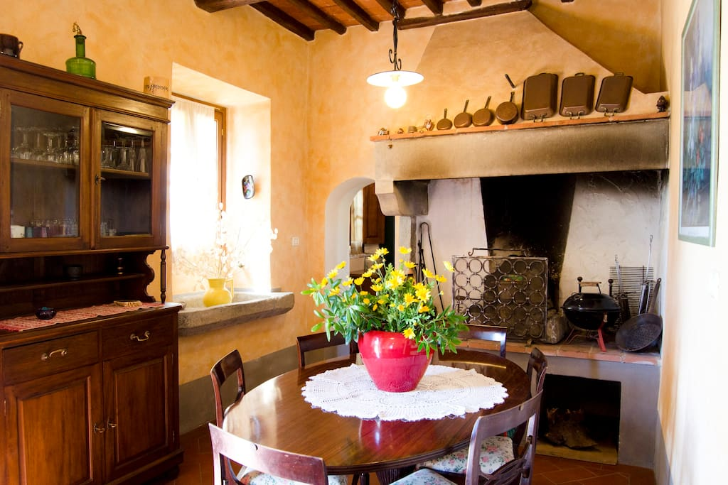 Apt Ancient Fireplace: Dining room with Fireplace and old sink