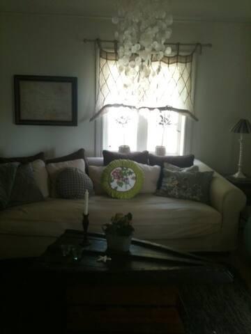 Stort  vardagsrum med öppen spis. + Separat stort sovrum med riktig resårsäng 180 cm.