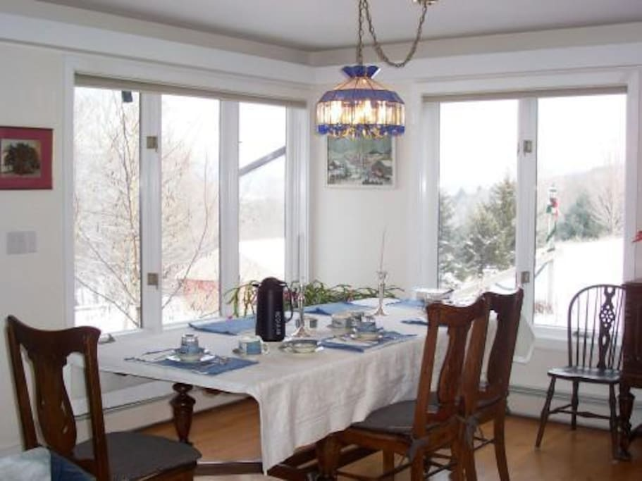 Mountain Meadow View - Dining Area - View of Mount Mansfield - Seats eight