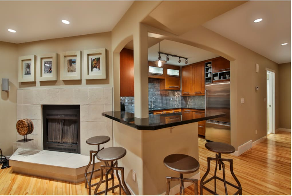Main floor with wood burning fireplace.