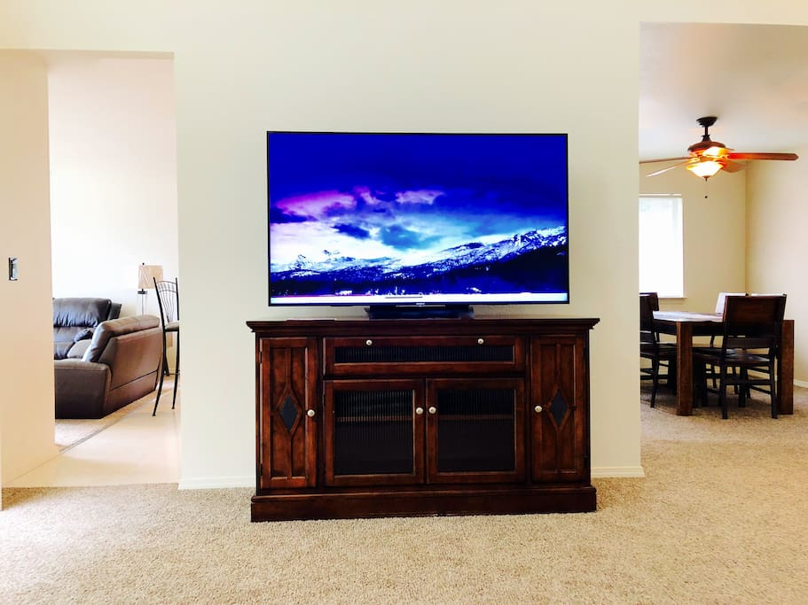 "The 65"" 4K television is a pleasure to watch. All TVs in the home have Satellite TV and access to Netflix among other applications."