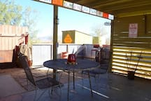 Outdoor patio open, but out of the sun