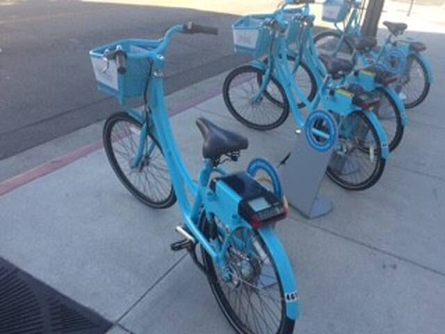 These blue rental Bikes are conveniently parked outside all over the City. They are always available and ready to rent by the hour with a credit card.