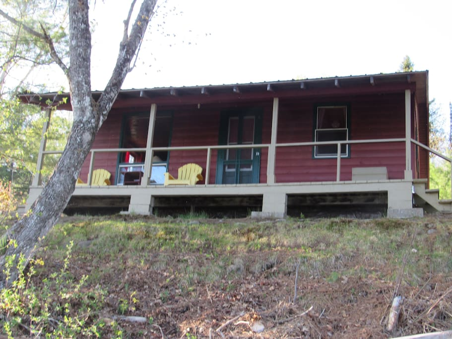 Cabin 8 is sitting on the bank of the River.