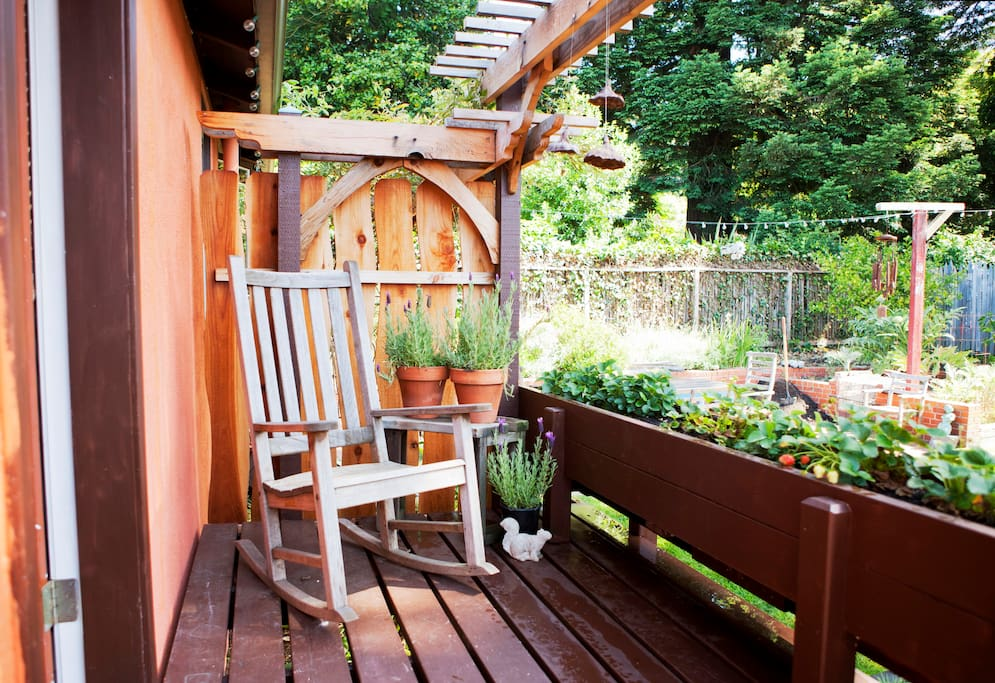 Enjoy your morning beverage on your own sunny deck.