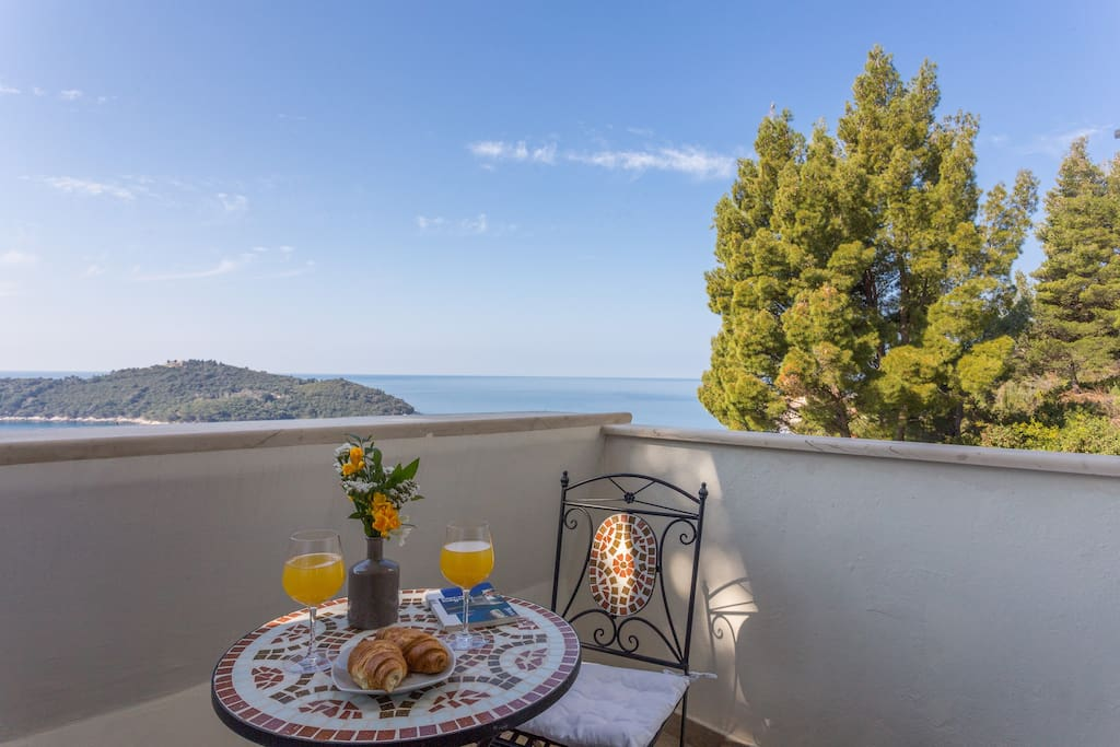 Balcony with view to the island of Lokrum