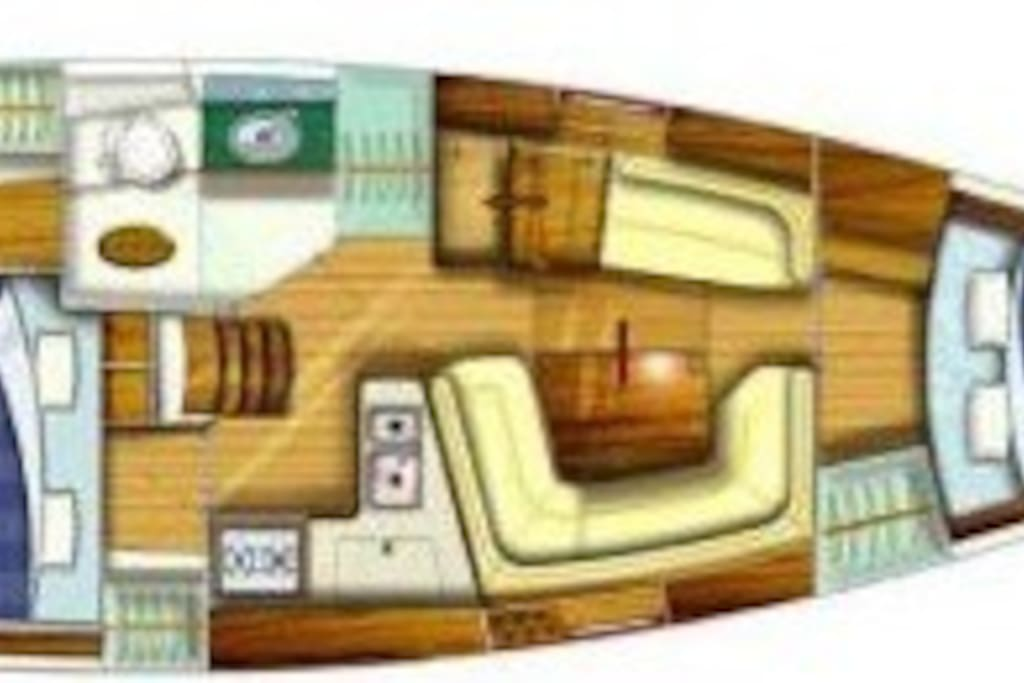 This shows you the interior layout of the boat.  The cabins are in opposite ends.  The head with shower is to port of the stairs.