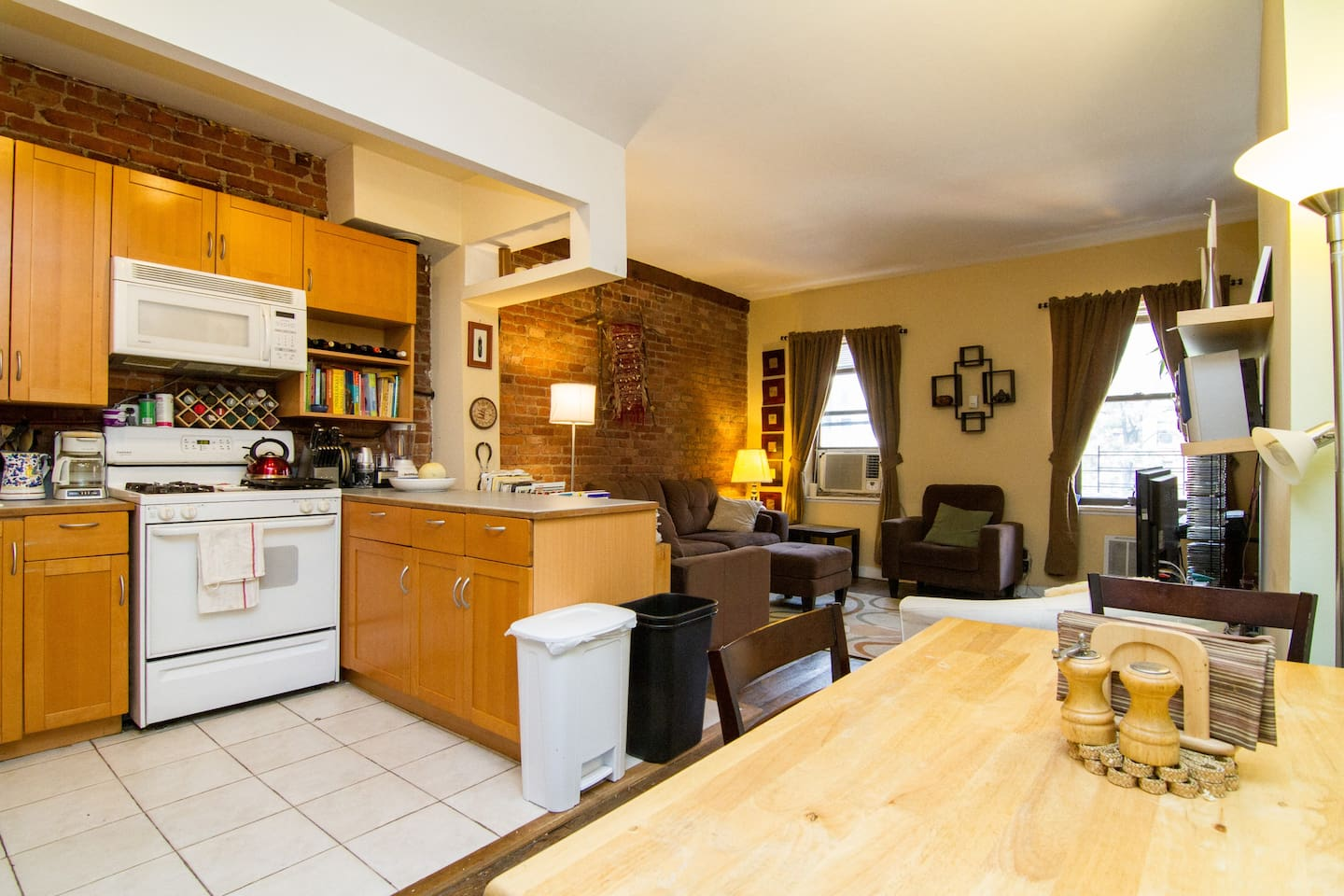 Open, spacious, living room, kitchen, dining room.