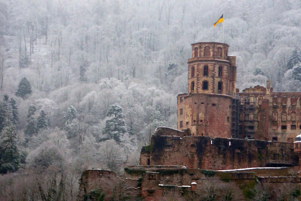 Direct frontal view of the Heidelberg Castle during a gorgeous, frosty winter morning from the bedroom window (smartphone picture, zoomed 3x)