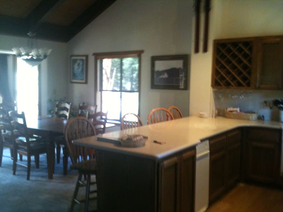 Great open kitchen dining room and living room