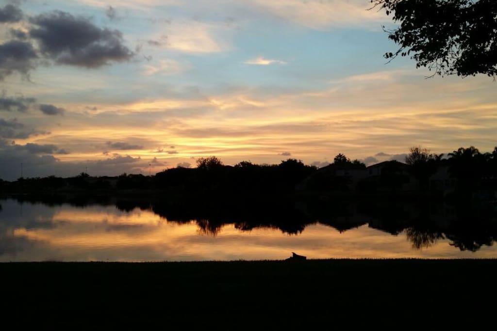 Sunrise walk on the lake.