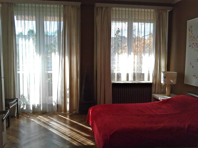 Big sunny bedroom with balcony - Genève - Appartement