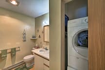 The condo has in-unit laundry machines.