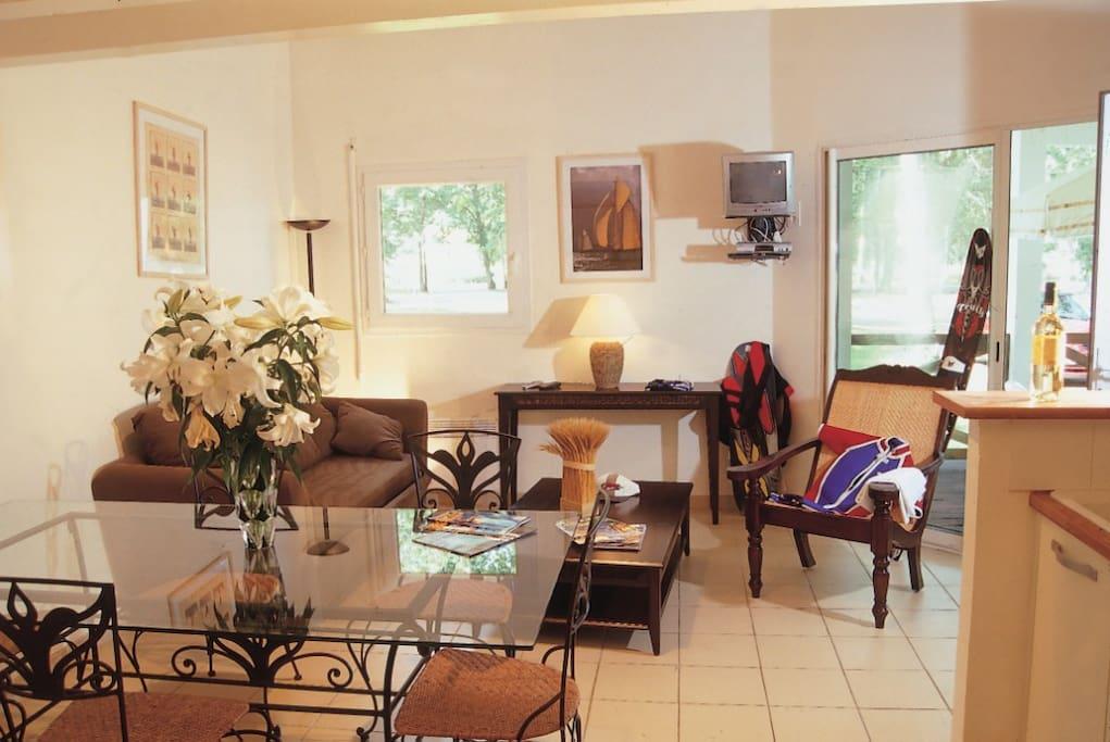 Salon, salle à manger avec canapé convertible en lit 140cm
