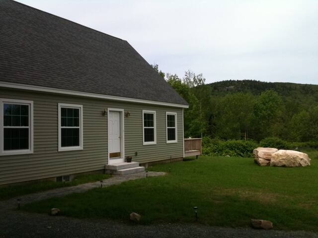 View of House from Driveway.  Eagles Crag (part of Cadillac Mountain) in Background